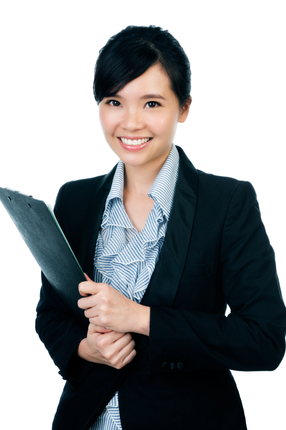 Portrait of an attractive young businesswoman smiling on white background.